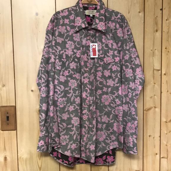 6886ce7ab Cowboy Gang Hawaiian print snap western shirt NEW